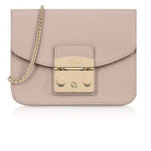 FURLA Pink Leather Metropolis Mini Crossbody Bag